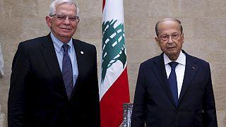 Josep Borell EU-főképviselő és Michel Aun libanoni államfő találkozója 2021. június 19-én
