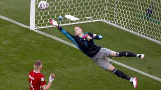 Peter Gulacsi deflects a shot away from goal during the Euro 2020 group F match between Hungary and France at the Ferenc Puskas stadium in Budapest, Hungary, June 19, 2021.