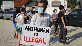 """Activists protested the """"intolerable"""" treatment of migrants trying to reach Western Europe on the Bosnia-Croatia border on Saturday"""
