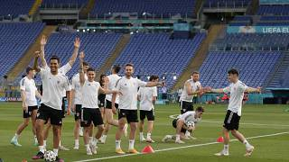 Players of Wales cheer during a team training session at Olympic stadium in Rome, Saturday, June 19, 2021
