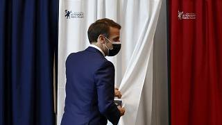 French President Emmanuel Macron during the first round of French regional and departmental elections in Le Touquet-Paris-Plage, June 20, 2021.