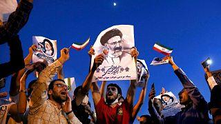 شادی هواداران ابراهیم رئیسی پس از پیروزی او در انتخابات ریاستجمهوری