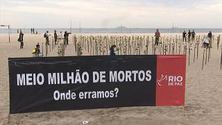 Copacabana beach protest as death toll passes 500K