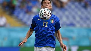 Italy's Matteo Pessina chests the ball during the Euro 2020 match on Sunday