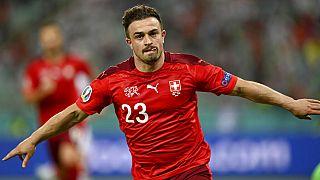 Switzerland's Xherdan Shaqiri celebrates scoring his side's third goal against Turkey on Sunday