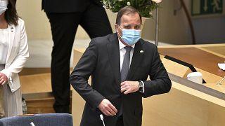 Schwedens Regierungschef Stefan Löfven an diesem Montag bei der Vertrauensabstimmung im Parlament