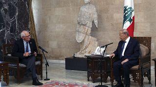 جوزيب بوريل الرئيس اللبناني ميشال عون،  بيروت، 19 يونيو/حزيان 2021