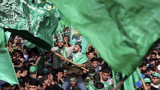 متظاهر فلسطيني يلوح بعلم حركة المقاومة الإسلامية (حماس)