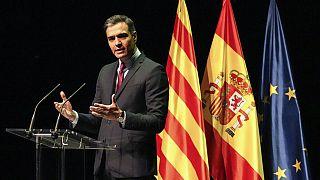 Pedro Sanchez bei seiner Rede in Barcelona