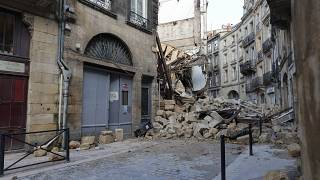 Rubble after a building collapsed in Bordeaux