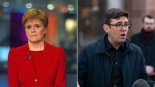 SNP leader Nicola Sturgeon (left) and Greater Manchester mayor Andy Burnham (right)