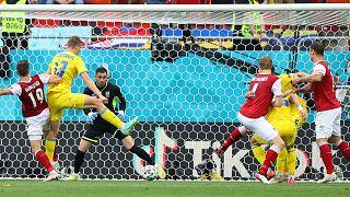 Austria's Christoph Baumgartner (19) scores his side's opening goal during the Euro 2020 group C match against Ukraine in Bucharest, Monday, June 21, 2021