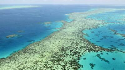 This aerial photos shows the Great Barrier Reef in Australia on Dec. 2, 2017.