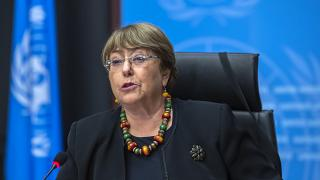 Michelle Bachelet, UN High Commissioner for Human Rights during a press conference at the UN' European headquarters in Geneva, Switzerland, Dec. 9, 2020
