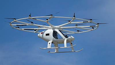 An urban air taxi prototype by German based company Volocopter makes a test flight at Le Bourget, Paris.
