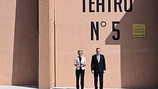 European Commission President, Ursula von der Leyen and Italy's Prime Minister, Mario Draghi arrive to Rome's Cinecitta