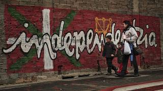"""The word """"Independence"""" painted in Basque on a wall in the small northern Spanish town of Alsasua."""