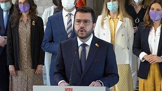 El jefe del Gobierno aragonés, Pere Aragonés, lee un comunicado tras el indulto del Gobierno español a los presos del procés