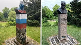 The monument was likely defaced before Monday's UEFA Euro 2020 match in Copenhagen.