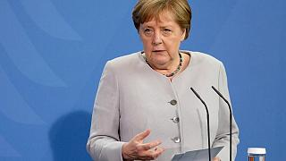 German Chancellor Angela Merkel addresses the media during a joint press conference with the EU Commission President following a meeting in Berlin, Germany, on June 22, 2021.