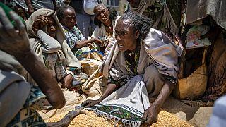 Etiópiai nő vitázik a segélyszervezeti ételosztáson Agulában, 2021 májusában. A háború sújtotta térségben 350 ezren éheznek