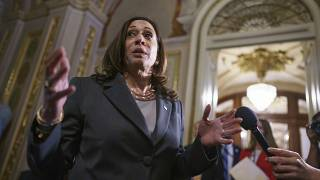 US Vice President Kamala Harris leaves the Senate chamber following the procedural vote on the For the People Act, at the Capitol in Washington, June 22, 2021.