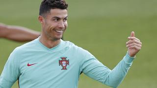 Portugal's Cristiano Ronaldo gestures during a training session in Budapest, Hungary, June 22, 2021.