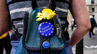 An anti-Brexit protester wears EU badges on her bag, near Parliament Square, in London, Wednesday, May 26, 2021.
