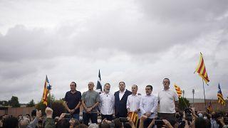 Los líderes del proceso independentista en Cataluña a su salida de a cárcel
