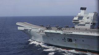 حاملة الطائرات البريطانية أيتش أم أس الملكة أليزابيث في ساحل البرتغال. 2021/05/27
