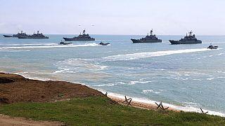 Russian Navy ships performing drills - April 2021