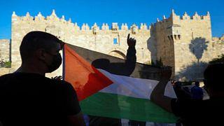 جان من احتجاجات الفلسطينيين في منطقة باب العامود في القدس الشرقية المحتلة. 19/06/2021
