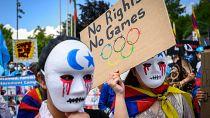 Dozens of Uighurs, Tibetans protest the Beijing 2022 Winter Olympics