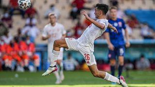 Pedri, jugador de España, en el partido contra Eslovaquia
