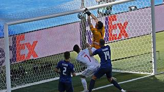 Slovakia's goalkeeper Martin Dubravka scores an own-goal during the Euro 2020 group E match between Slovakia and Spain, in Seville, Spain, Wednesday June. 23, 2021