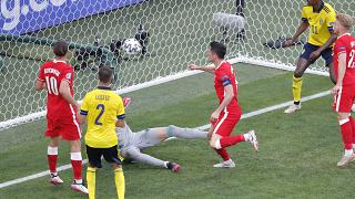 Poland's Robert Lewandowski fails to score during the Euro 2020 group D match between Sweden and Poland, at the St. Petersburg stadium, Russia, Wednesday, June 23, 2021.