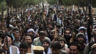 مقاتلون أفغان مؤيدون للحكومة في كابول (23 حزيران-يونيو 2021)