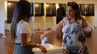 A woman votes in Gibraltar's abortion referendum