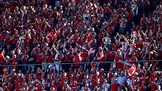 25,000 supporters watched Denmark's UEFA Euro 2020 match with Belgium on June 17 at the Parken Stadium in Copenhagen.