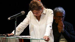 Ingrid Betancourt durante su primer encuentro público con altos mandos de las antiguas FARC