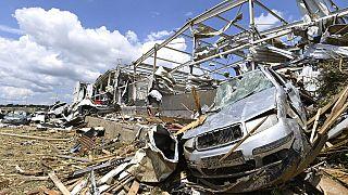 Das Das Dorf Luzice im Bezirk Hodonin, Südmähren, nach dem Durchzug eines Tornados, 25.06.2021