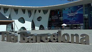 Der Eingang zum Messegelände in Barcelona