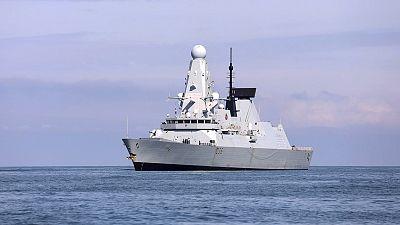 British destroyer HMS Defender arrives at the port of Batumi, Georgia.