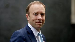 British Health Secretary Matt Hancock walks from 10 Downing Street in London on Sept. 16, 2020. He has apologized for breaching social distancing rules.