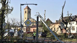 Zerstörungen im Ort Moravská Nová Ves