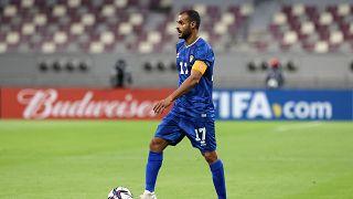بدر المطوع  خلال مباراة التصفيات المؤهلة لكأس العرب 2021 بين البحرين والكويت على استاد خليفة الدولي في الدوحة.