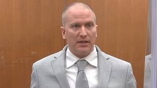 Former Minneapolis police Officer Derek Chauvin addresses the court as Judge Peter Cahill presiding over Chauvin's sentencing, Friday, June 25, 2021.