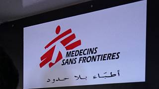 Sign from the medical aid group Doctors without Borders/Medecins Sans Frontieres (MSF) on Thursday June 16, 2016