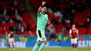Italy's goalkeeper Gianluigi Donnarumma celebrates during the Euro 2020.