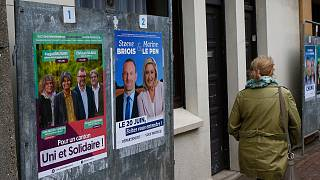 Electoral campaign boards for northern France region, right, with local candidate Steeve Briois and Marine Le Pen, French far- right leader, in Henin-Beaumont.